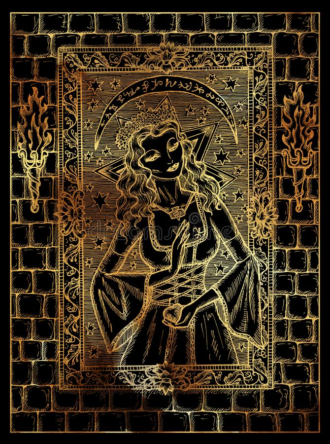 Mond-Symbol Mystisches wiccan Konzept für Lenormand-Orakel-Tarockkarte stock abbildung