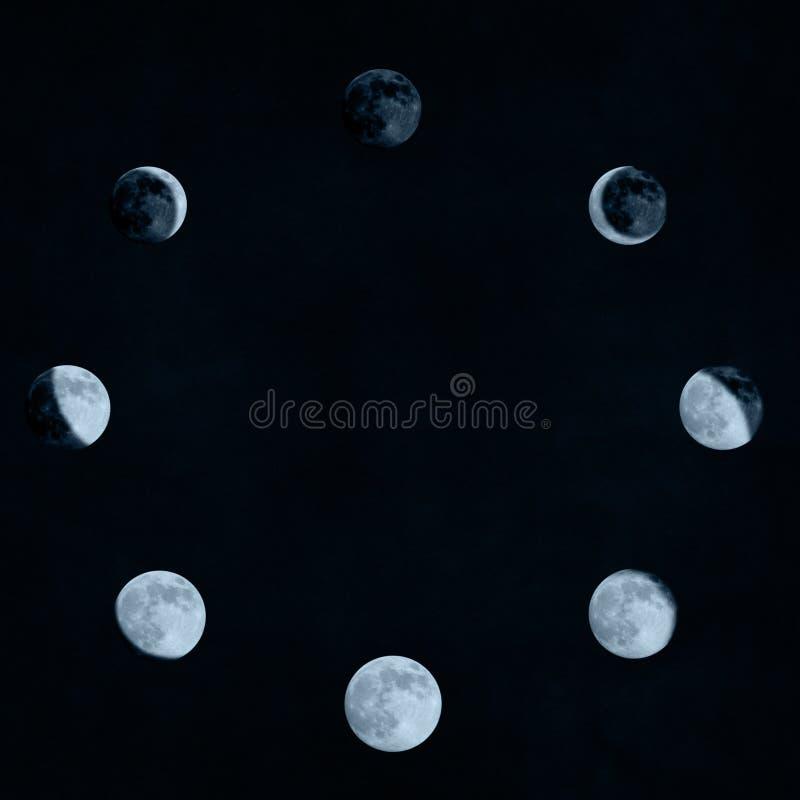 Mond teilt Collage in Phasen ein lizenzfreie abbildung
