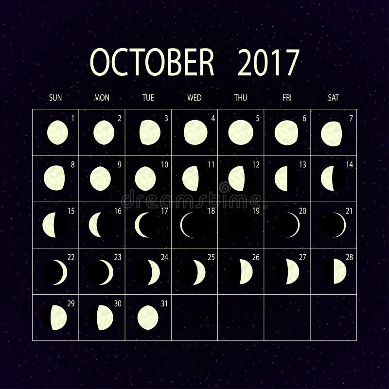 Mond teilt Kalender für 2017 in Phasen ein oktober Auch im corel abgehobenen Betrag lizenzfreie abbildung