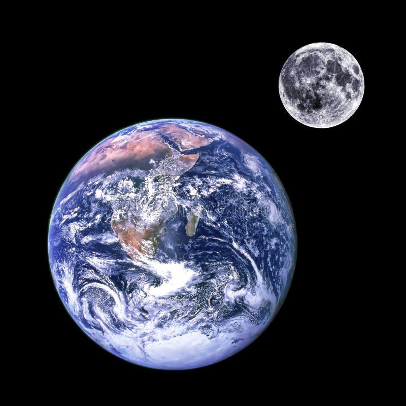 Mond und Erde lizenzfreies stockbild