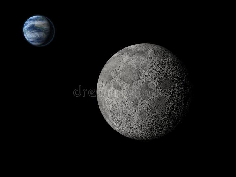 Mond und Erde stockfoto