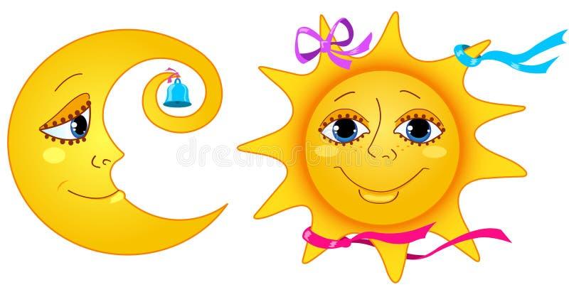 Mond und Sonne. vektor abbildung