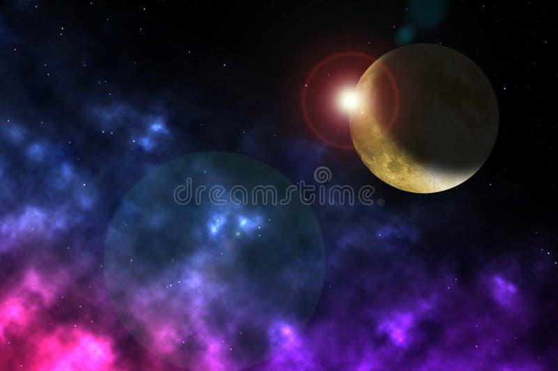 Mond und Sternentstehung im Weltraum lizenzfreie stockfotografie