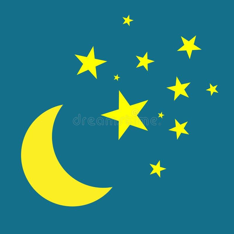 Mond- und Sternvektorikone Gelbsterne auf blauem nächtlichem Himmel vektor abbildung