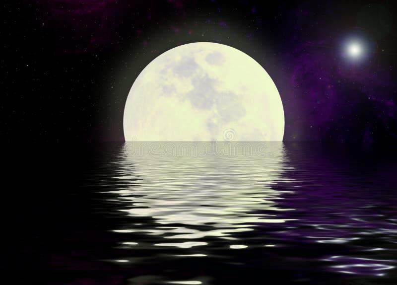 Mond- und Wasserreflexion lizenzfreie stockfotos