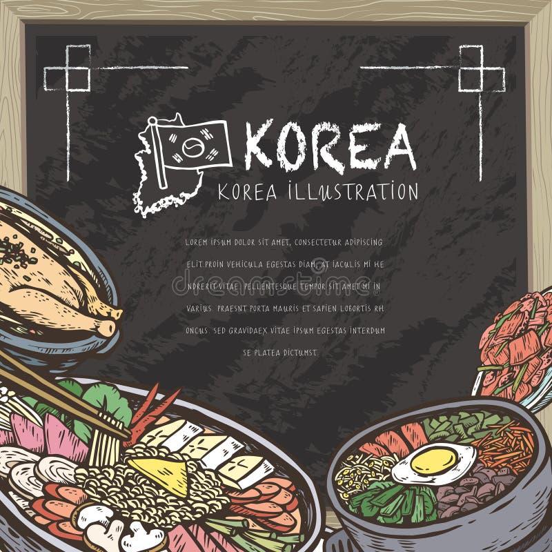Mond-water gevend Koreaans voedsel vector illustratie
