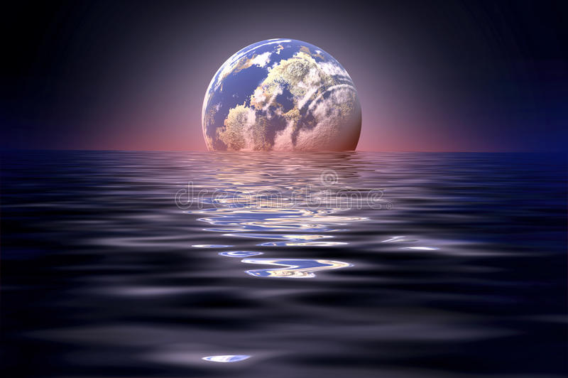 Mond widergespiegelt im Wasser stockfoto