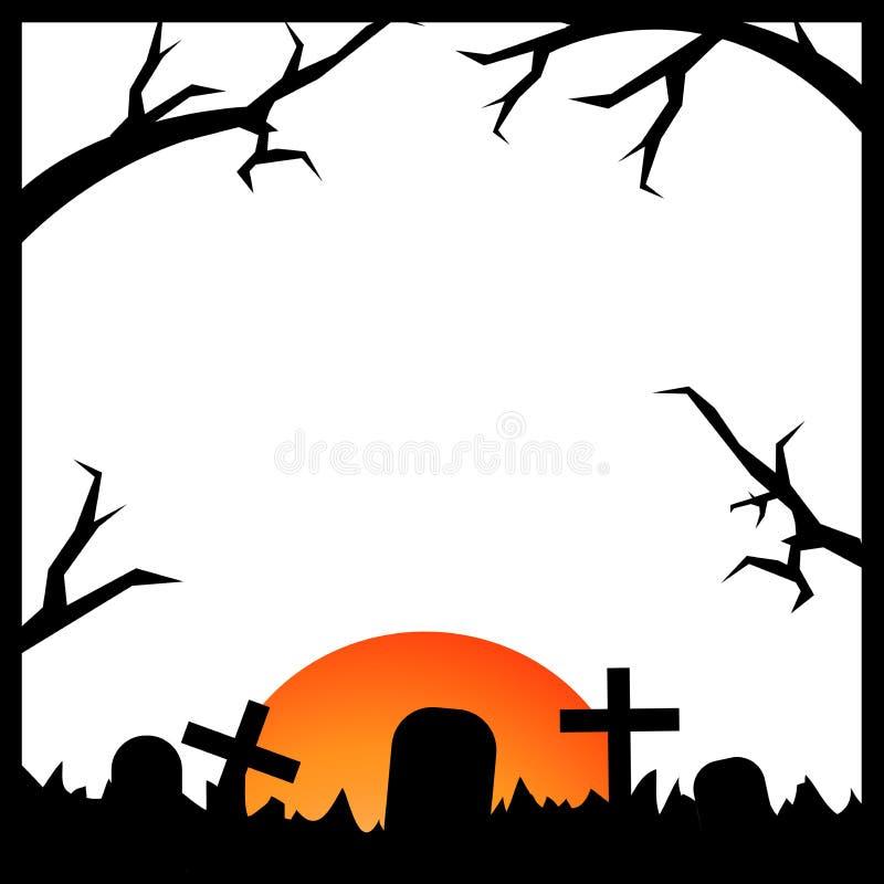 Mond, Zweige und Grab Gespenstische Halloween-Karte flaches Design des Hintergrundes lizenzfreie abbildung