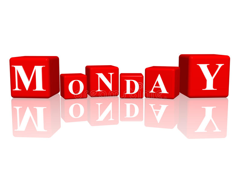 Monday in 3d cubes stock illustration