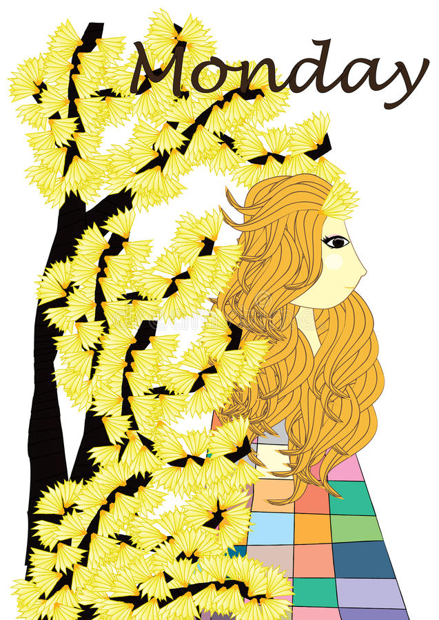 Monday Girl. The girl in this picture called Girl of Monday. Her favorite color is yellow royalty free illustration