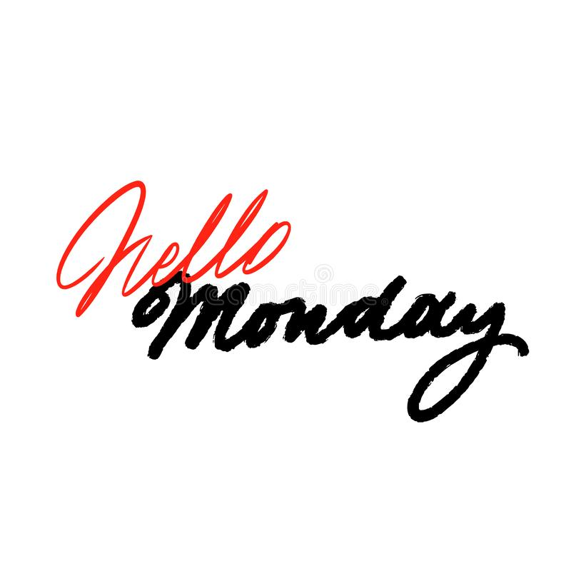 Monday handwriting vector ink. Black on white. Brush-pen style lettering. Vector calligraphy quote, weekdays royalty free illustration