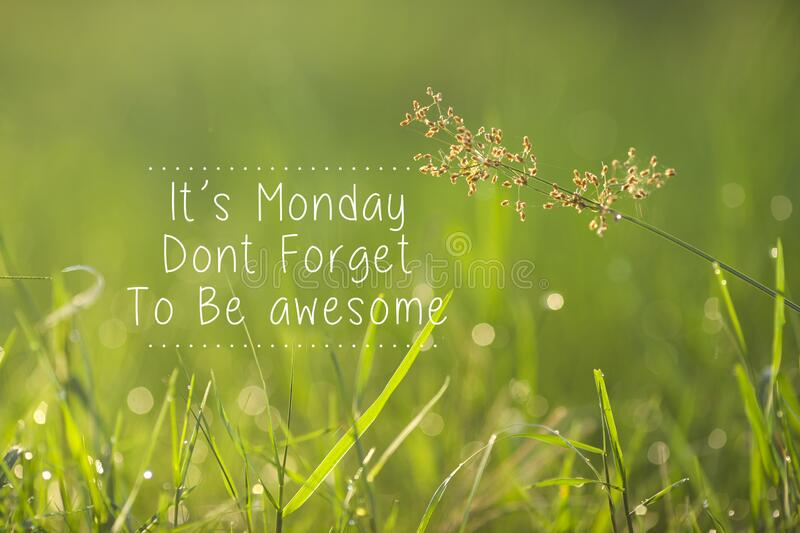Monday inspirational greeting - Its Monday, don`t forget to be awesome.  stock images