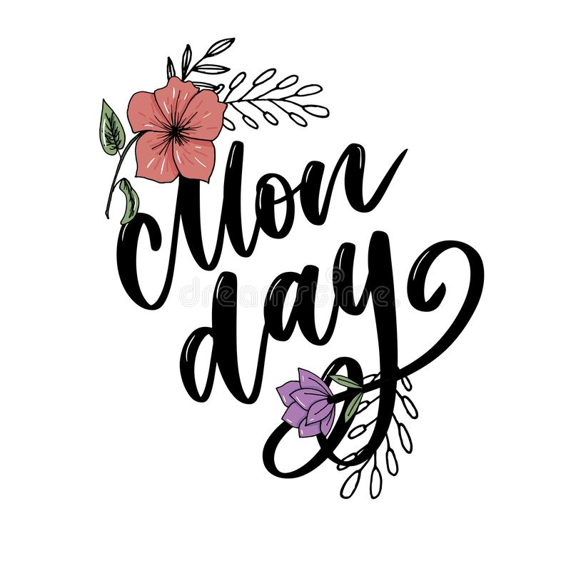 Monday - lettering design for posters, flyers, t-shirts, cards, invitations, stickers, banners. Hand painted brush pen modern. Hello Monday - inspirational royalty free illustration