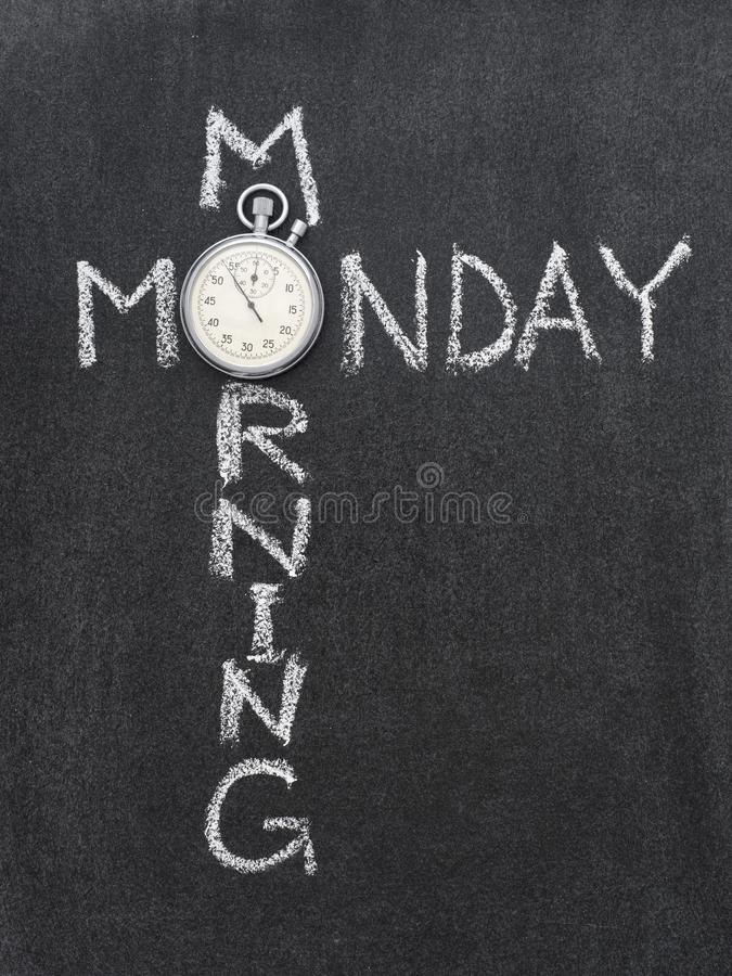 Monday morning. Phrase handwritten on chalkboard with vintage precise stopwatch used instead of O royalty free stock photos