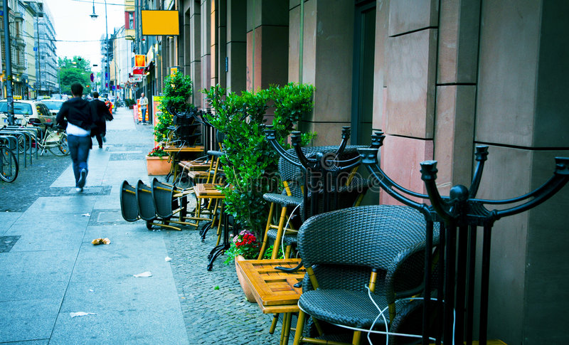 Monday morning street. Morning city street on a monday morning, with people rushing to work royalty free stock photo