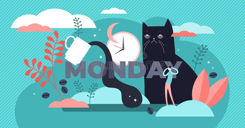 Monday vector illustration. Flat tiny sleepy morning symbol persons concept royalty free illustration