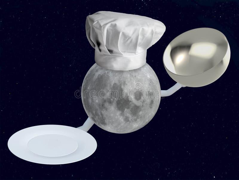 Mondchef mit Teller stock abbildung