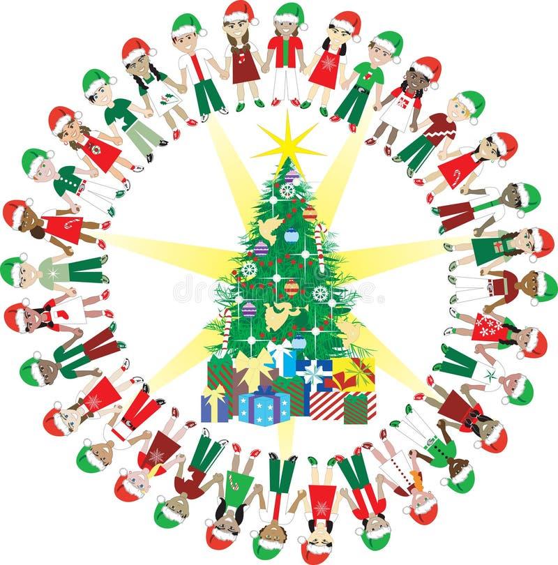 Monde 2 de Noël d'amour de 32 gosses illustration stock