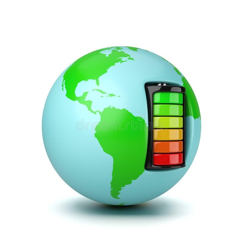 Monde actionné par une pile électrique illustration libre de droits