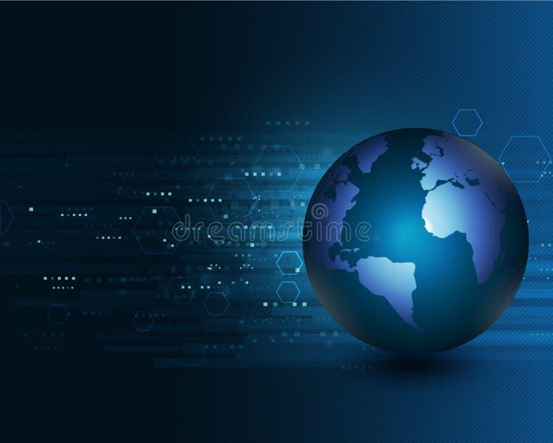 Monde avec la communication de réseau et le concept de technologie, vecteur illustration de vecteur