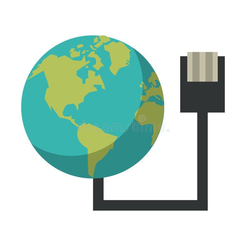Monde avec la technologie de fil d'usb illustration stock