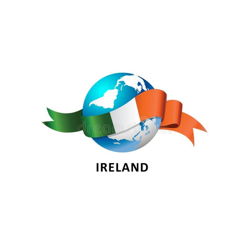 Monde avec le drapeau de l'Irlande illustration de vecteur