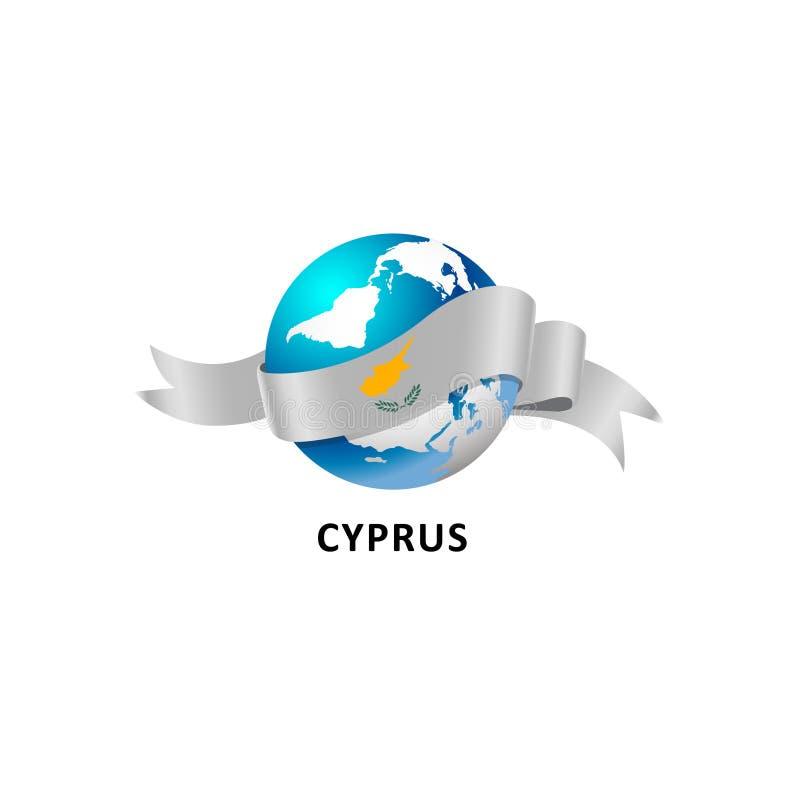 Monde avec le drapeau de la Chypre illustration stock