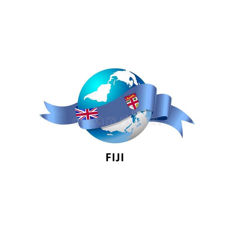 Monde avec le drapeau du Fiji illustration de vecteur