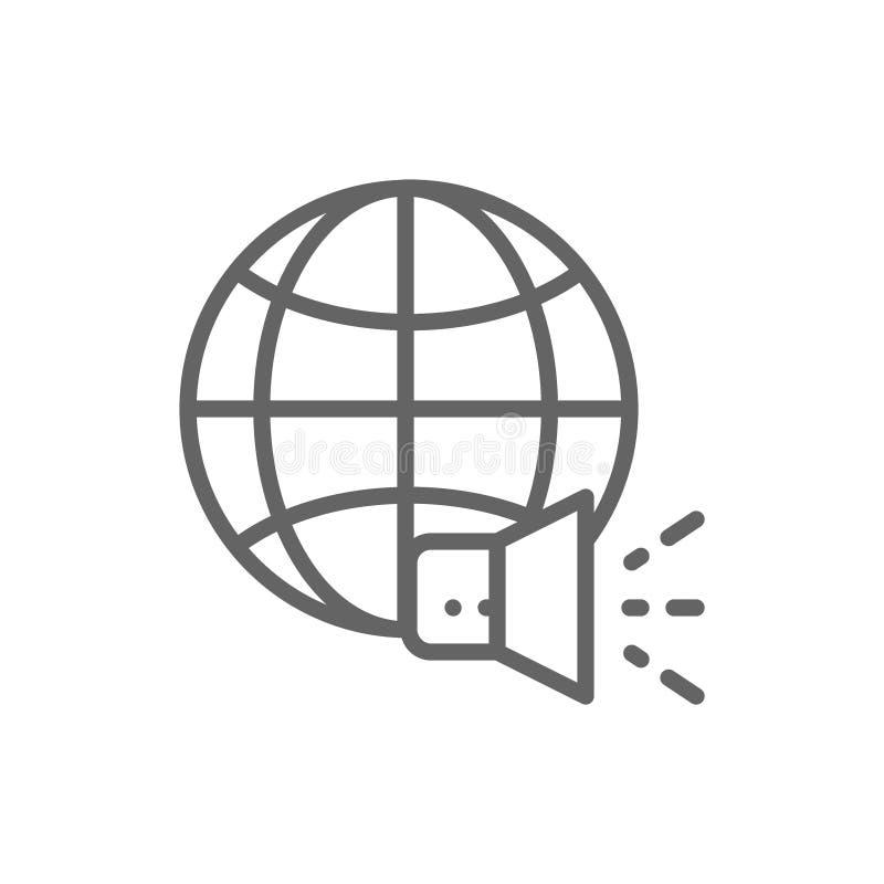 Monde avec le m?gaphone, milieu social, ligne ic?ne de nouvelles illustration de vecteur