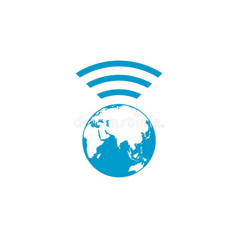 Monde avec le symbole d'Internet de zone de wifi illustration stock