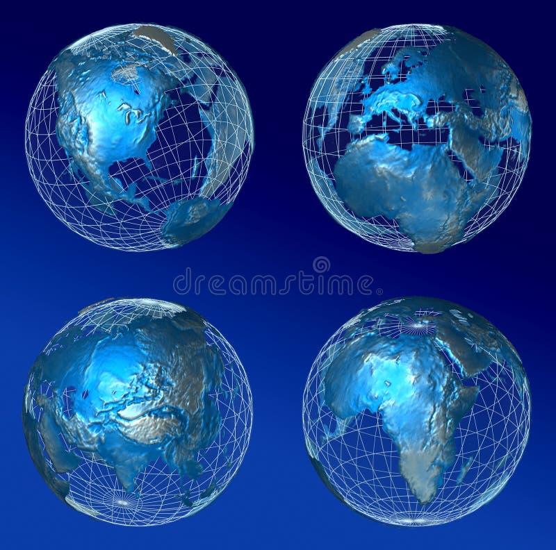 Monde bleu complet illustration de vecteur