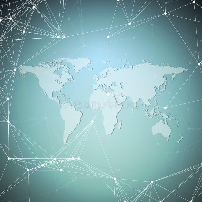 monde bleu de carte de fond Connexions réseau globales, dessin géométrique abstrait, concept numérique de technologie illustration de vecteur