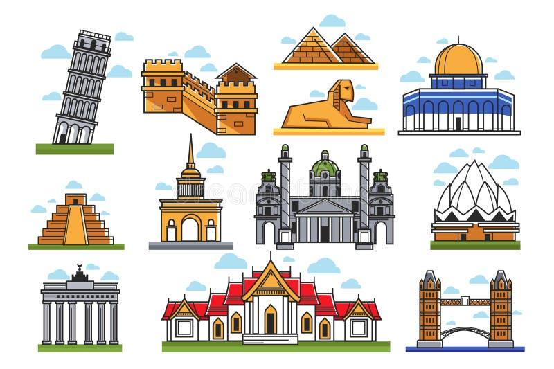 Monde célèbre stupéfiant les illustrations d'isolement par points de repère architecturaux réglées illustration libre de droits