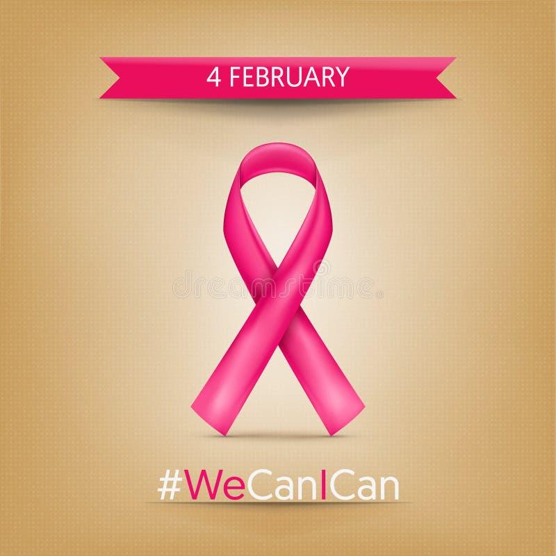 Monde Cancer jour 4 février, ribbo rose photographie stock