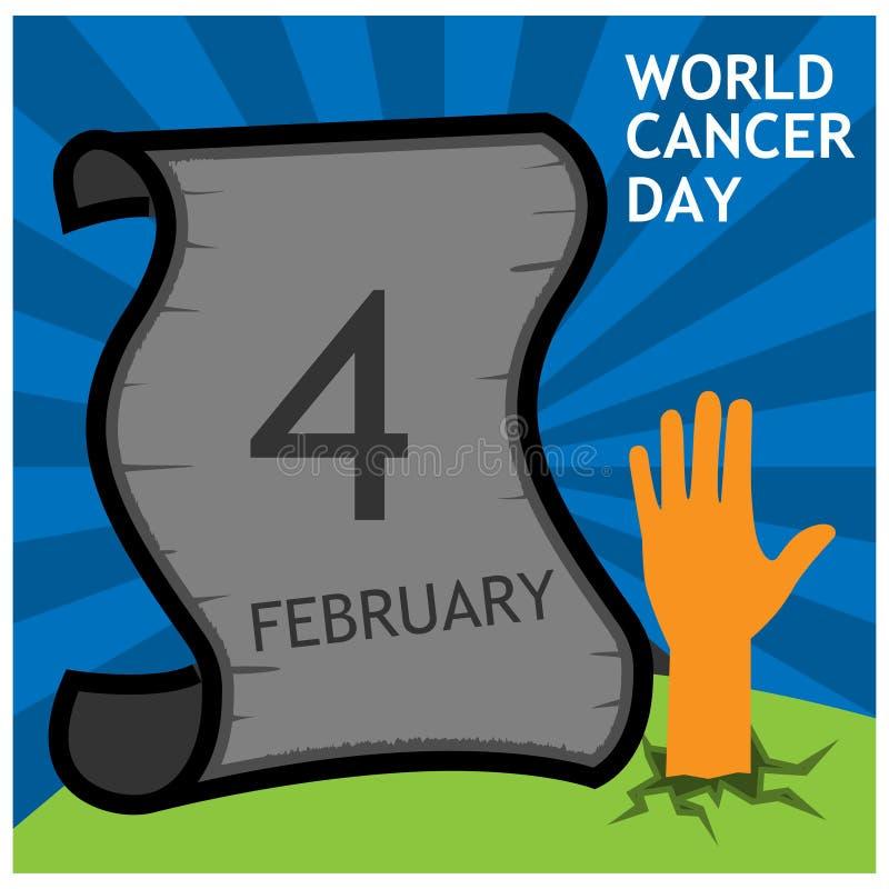 Monde cancer jour texte du 4 f?vrier avec l'arbre de ruban Concept d'illustration de vecteur pour le jour de cancer du monde illustration stock