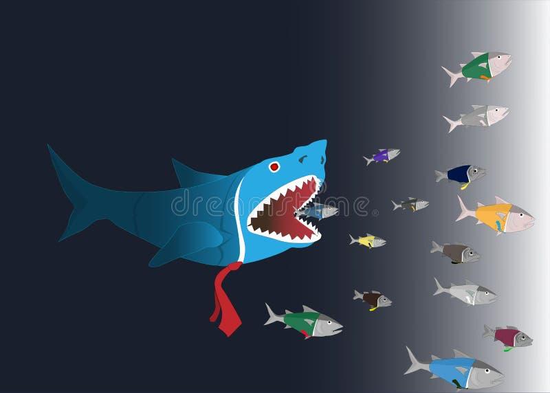 Monde d'affaires : Les grands poissons mangent illustration stock