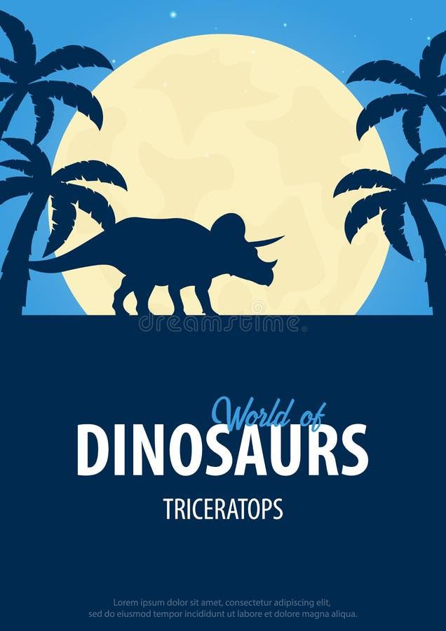 Monde d'affiche des dinosaures Monde préhistorique triceratops Période crétacée illustration stock