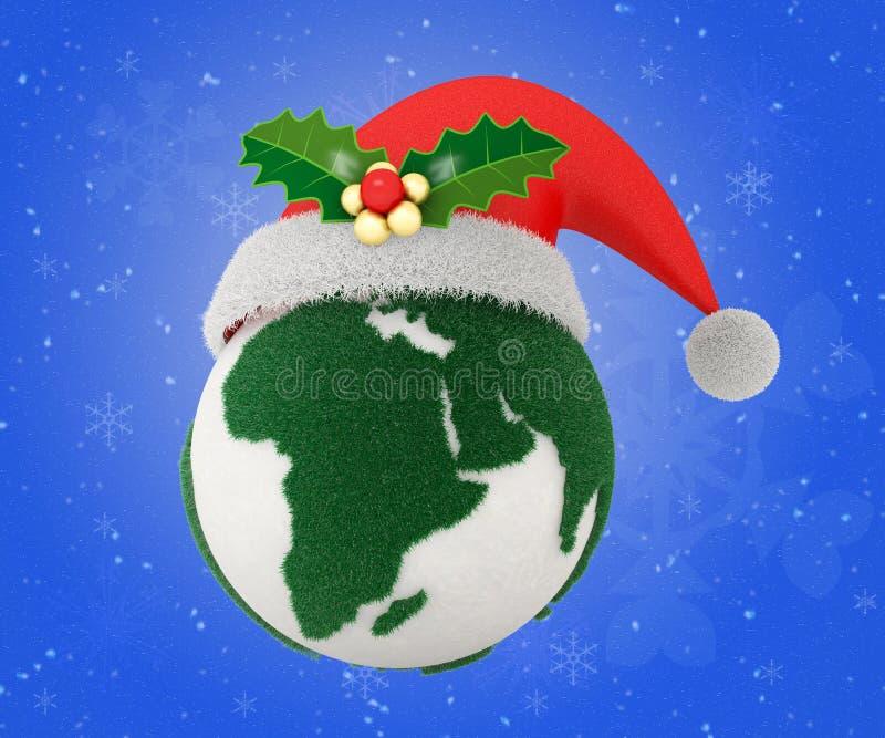 Monde d'Eco avec la saison de Noël, chemin de coupure inclus illustration libre de droits