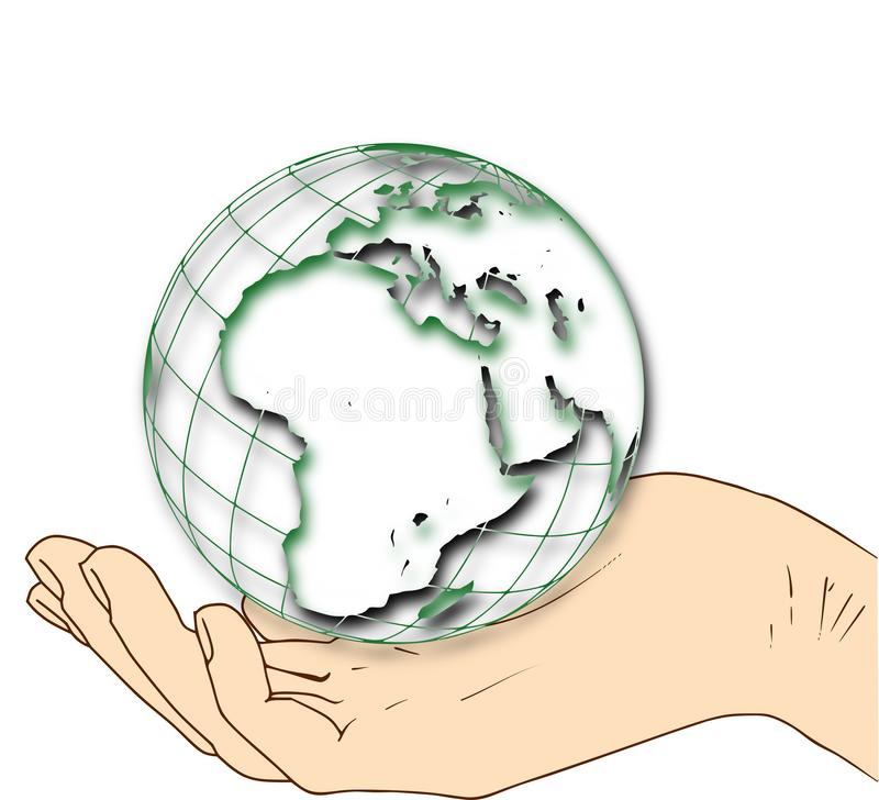 Monde dans votre main - hémisphère oriental illustration de vecteur