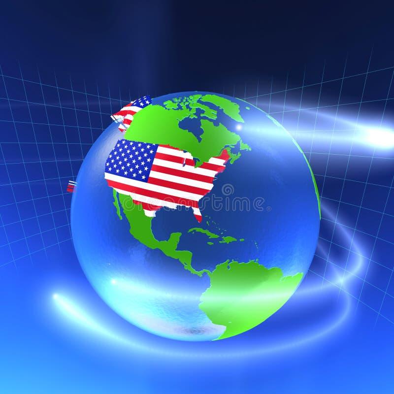 monde de 3d Etats-Unis illustration stock