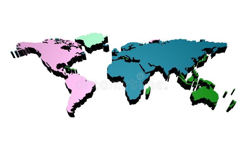 monde de carte de 3 d illustration de vecteur
