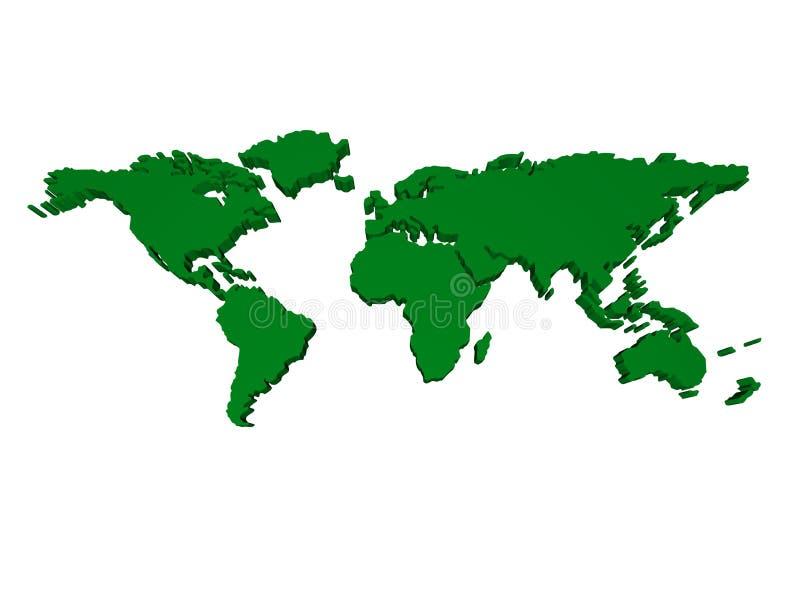 monde de carte de 3 d illustration stock