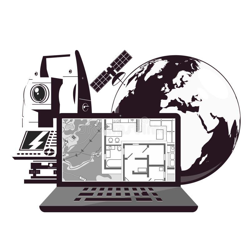 Monde de cartographie et ordinateur illustration de vecteur