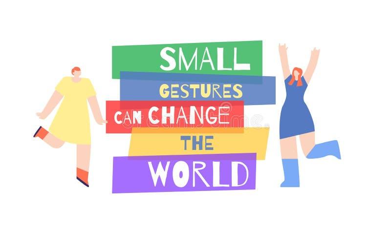 Monde de changement de slogan d'appel de motivation de femme d'affiche illustration libre de droits