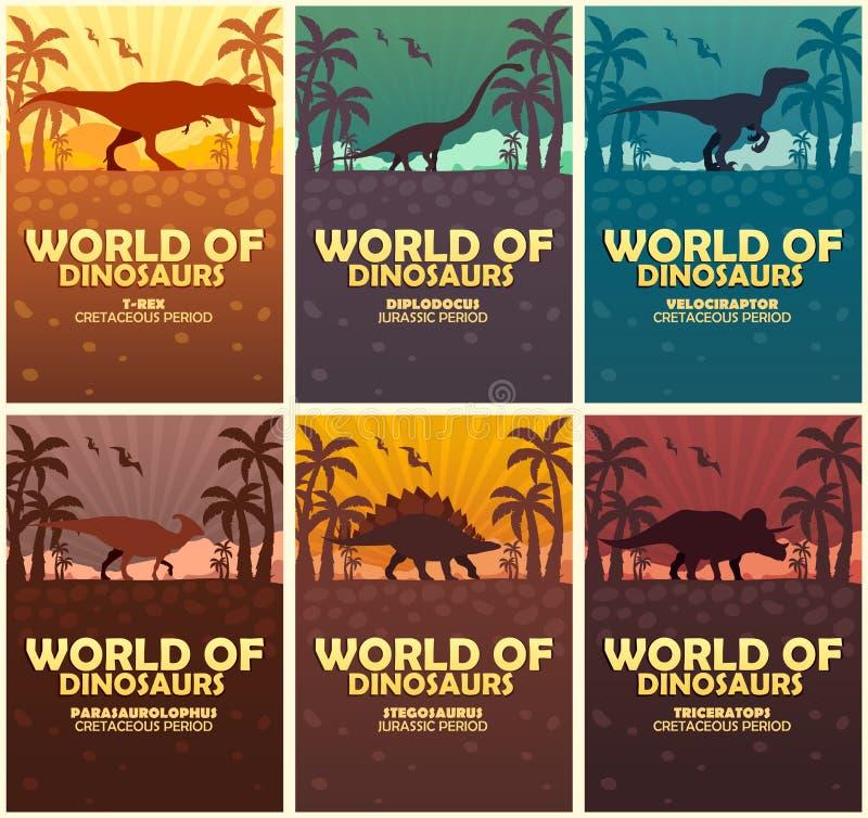 Monde de collection d'affiches des dinosaures Monde préhistorique T-rex, Diplodocus, Velociraptor, Parasaurolophus, Stegosaurus,  illustration stock
