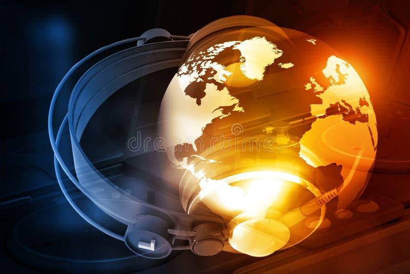 Monde de Digital avec des écouteurs illustration stock