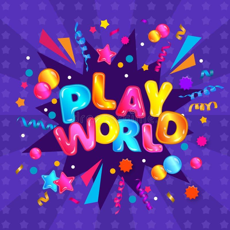 Monde de jeu - bannière carrée colorée pour la zone de jeu d'enfants avec la typographie d'amusement et les flammes de confettis illustration de vecteur
