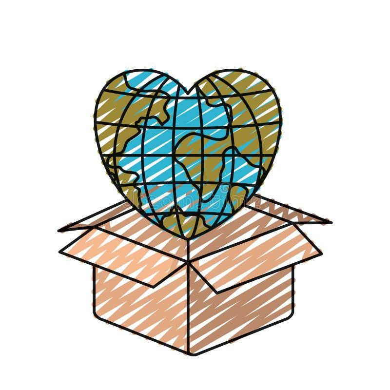 Monde de la terre de globe de silhouette de crayon de couleur dans la forme de coeur sortant de la boîte en carton illustration libre de droits