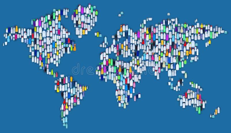 Monde de plastique - carte faite de bouteilles en plastique illustration stock