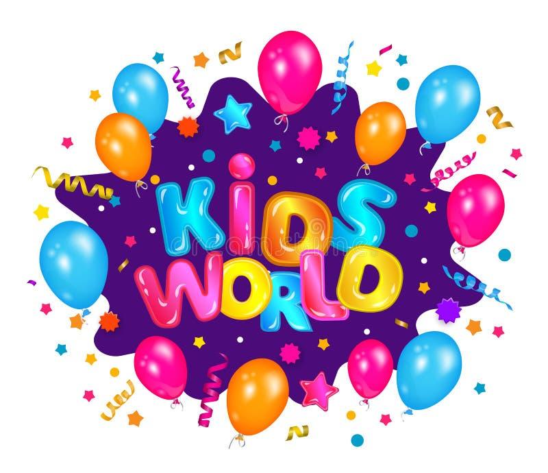 Monde des enfants - Bannière d'explosion colorée de confettis pour enfants zone de divertissement avec ballons et étoiles illustration libre de droits
